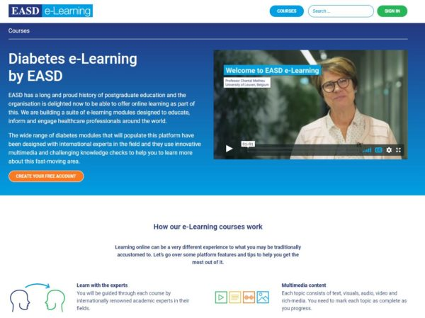 E-Learning website front page